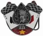 Demon Aces Belt Buckle with display stand